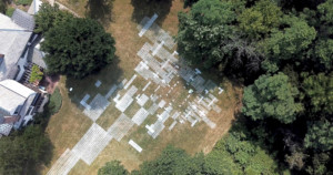 aerial photo of a field painted with lines