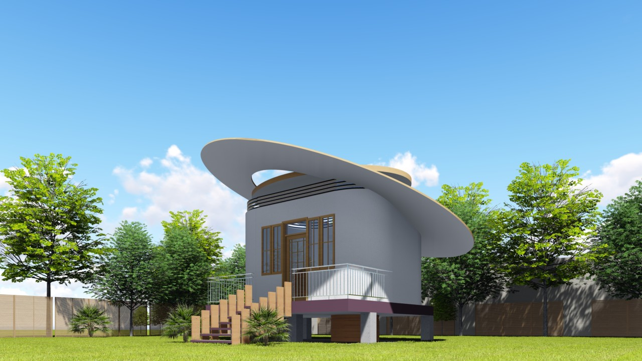 Rendering of small building with a slanted circular roof