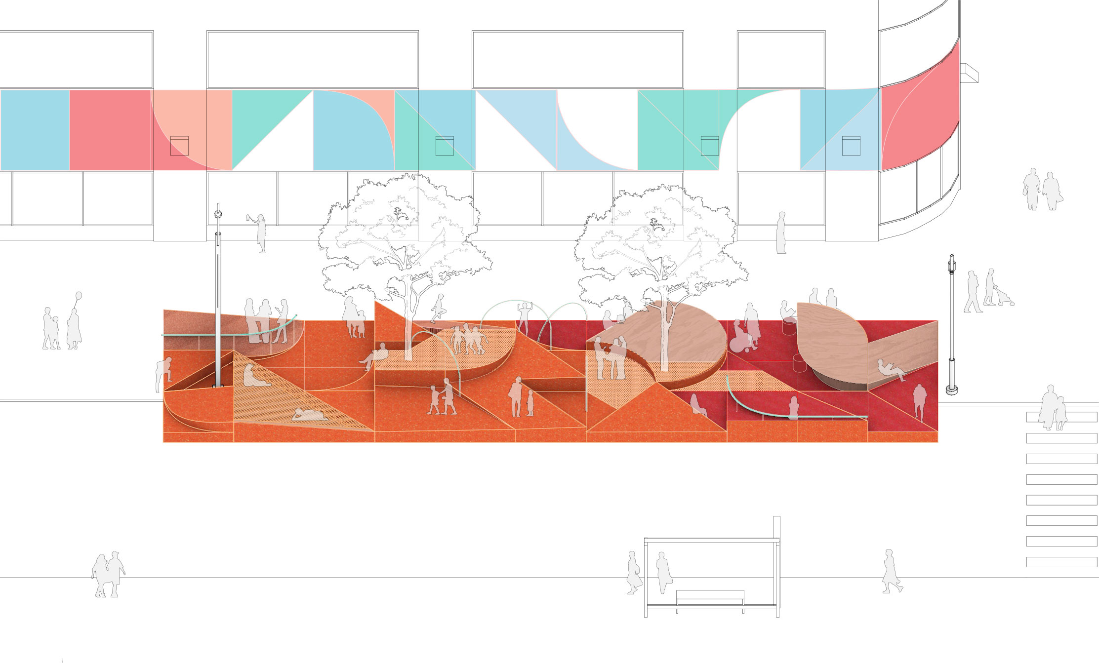 diagram of rubber switchback plaza in orange with trees throughout, restorative ground