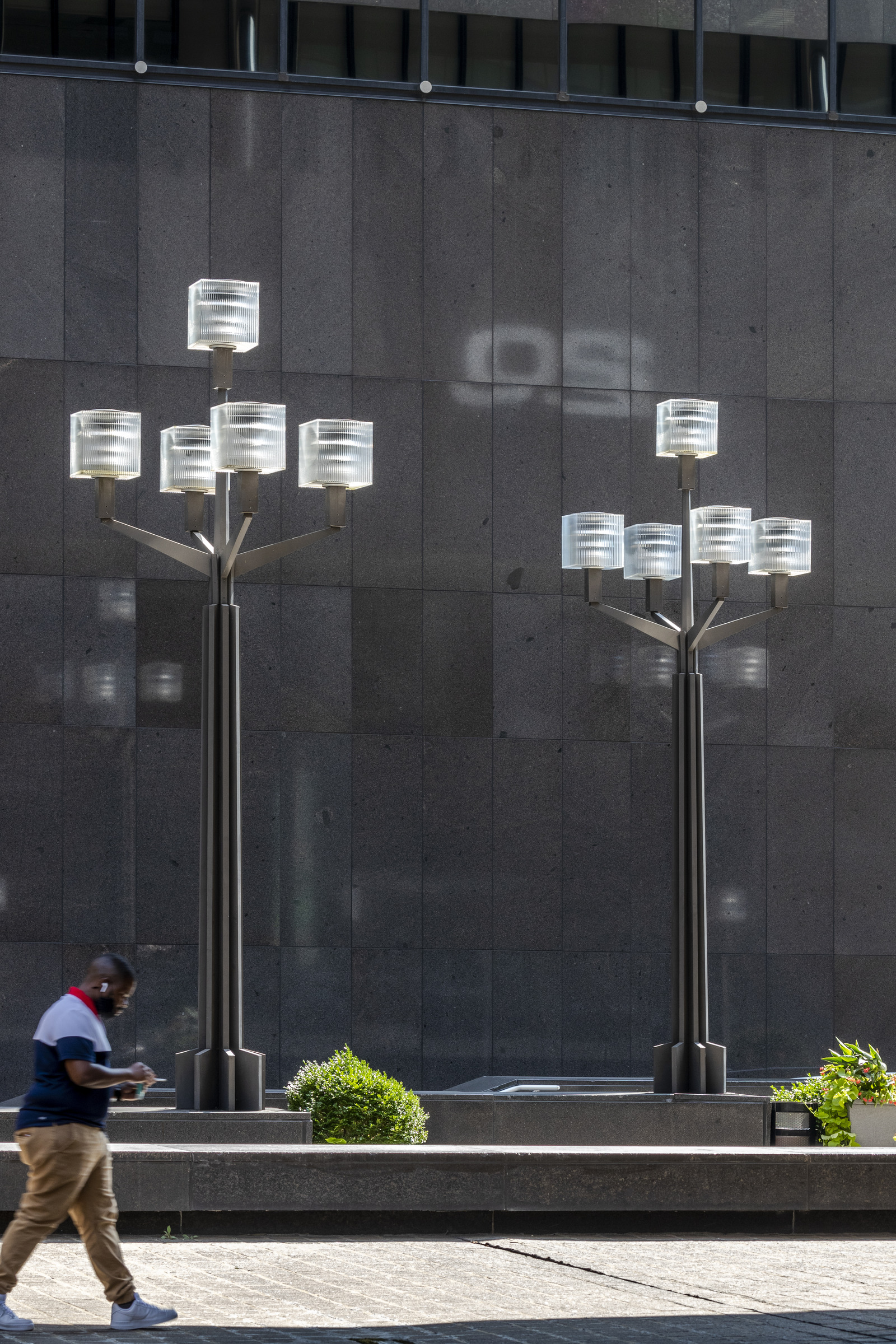 Photo of street lamps with cube glass