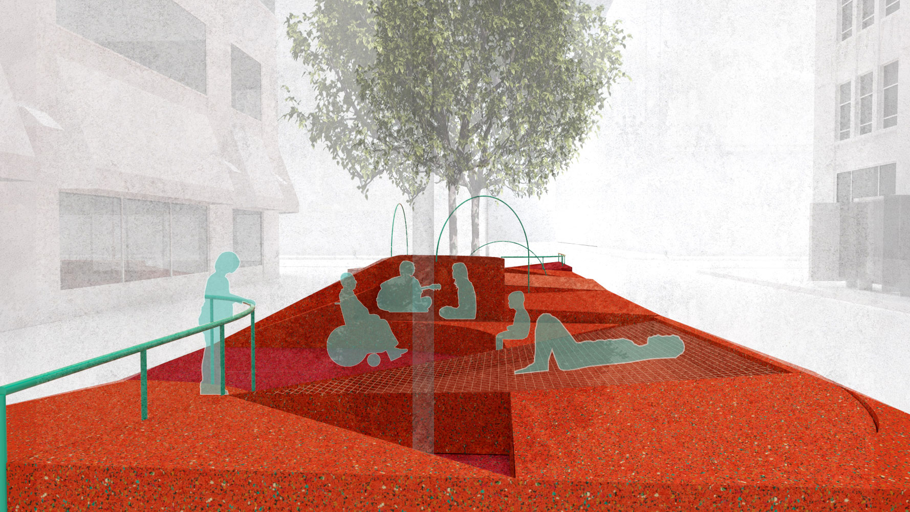 rendering of people on an orange plaza, restorative ground