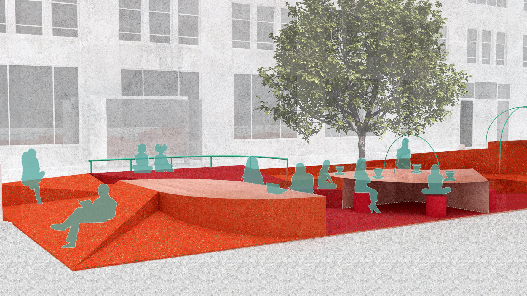 illustration of public space in manhattan