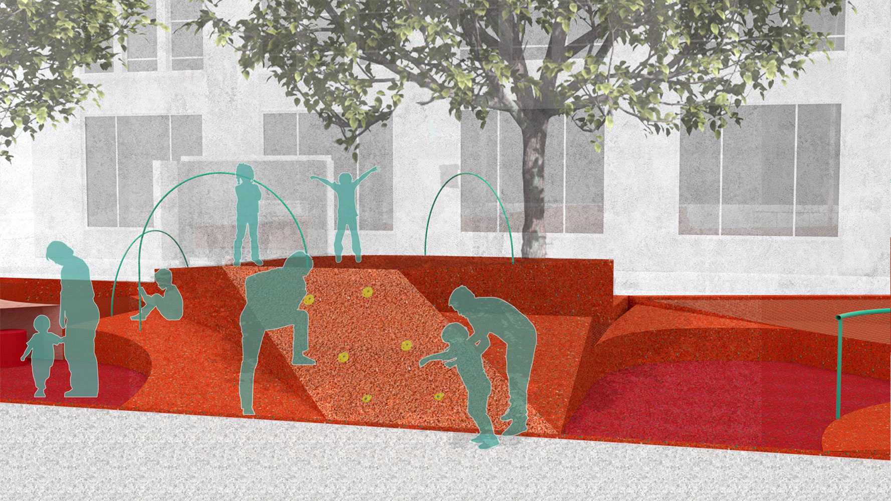 illustration of a public space in manhattan, restorative ground, an orange rubber plaza