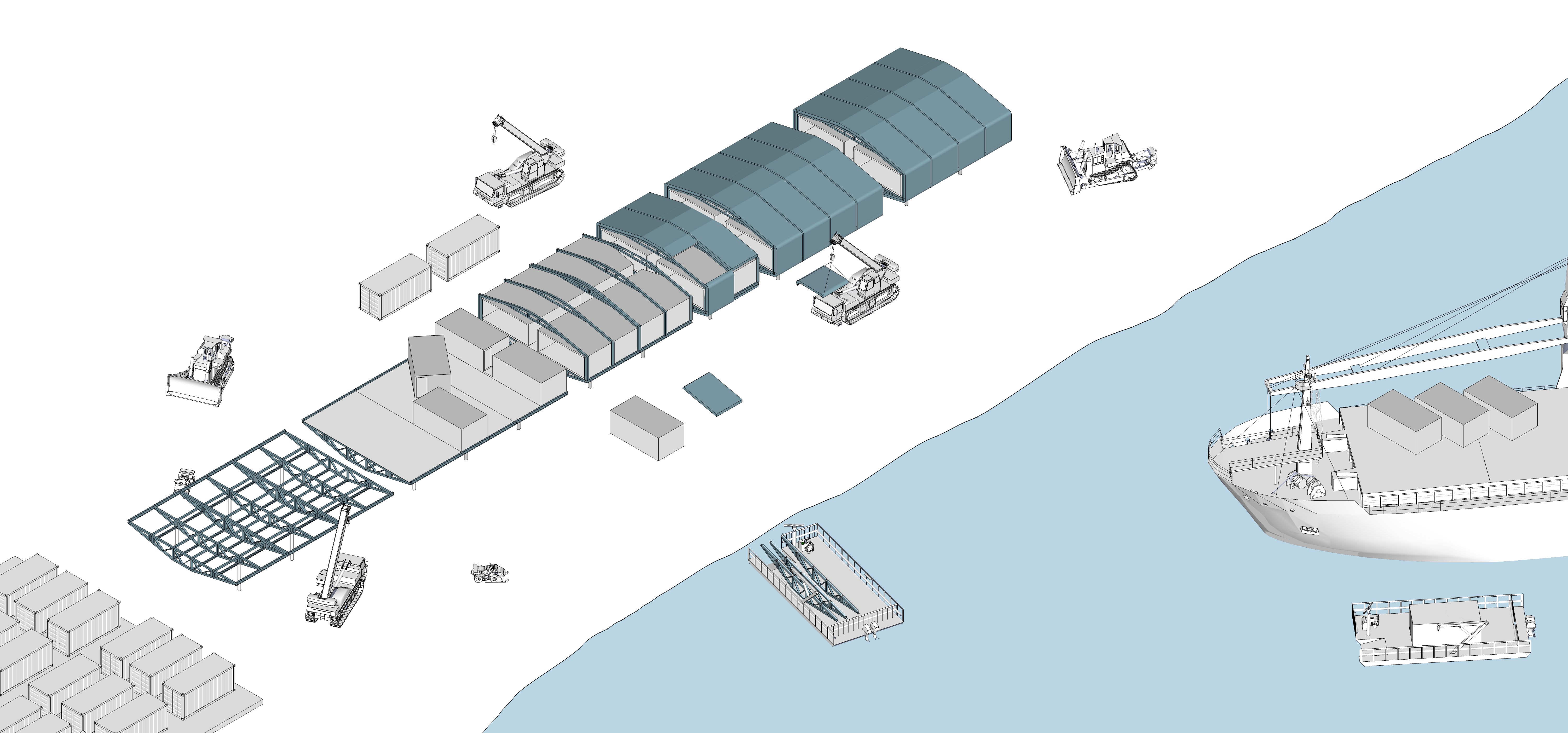Illustration of the station construction, and the shipment of prefabricated components