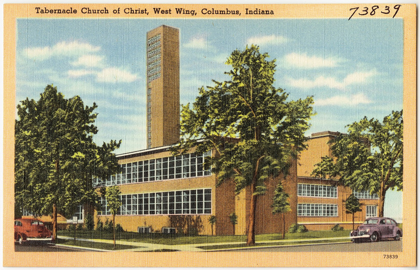 vintage postcard of modernist First Christian Church