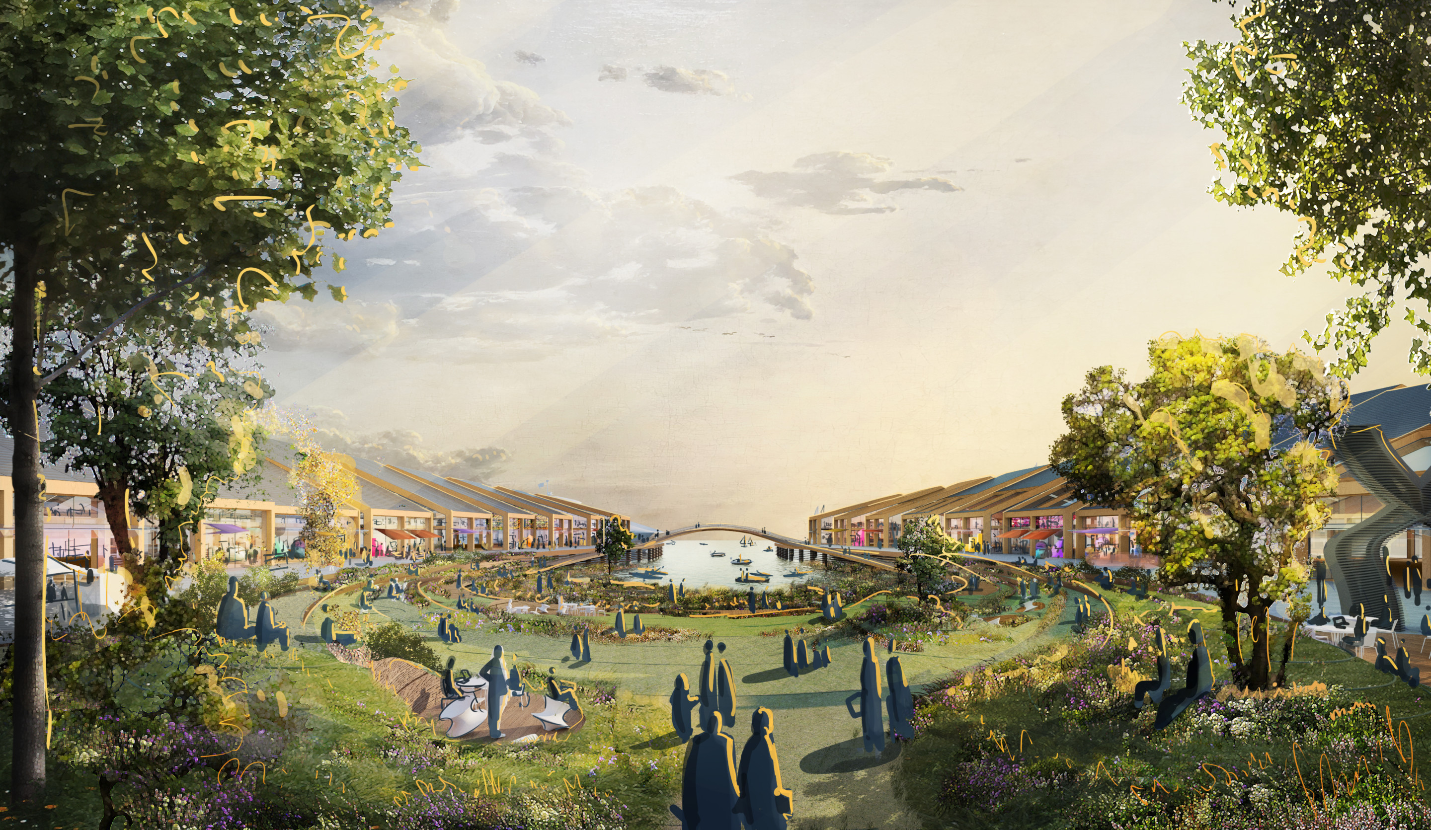 illustration of a proposed mixed-use campus and park at pier 30 san francisco