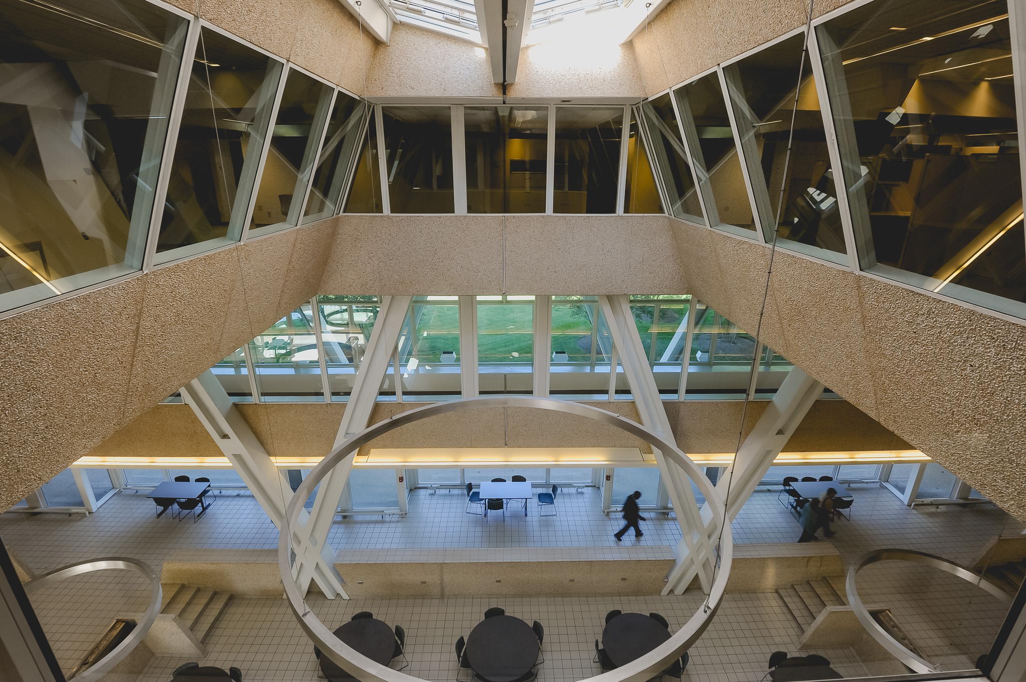interior of modernist office building, the Burroughs Wellcome Company hq