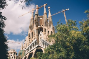 The Basilica of the Sagrada Família, a collection of stone spires under construction