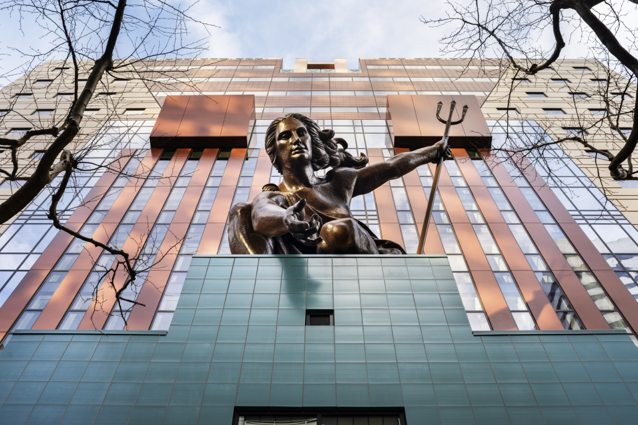 Image of the Portland Building's entrance and sculpture