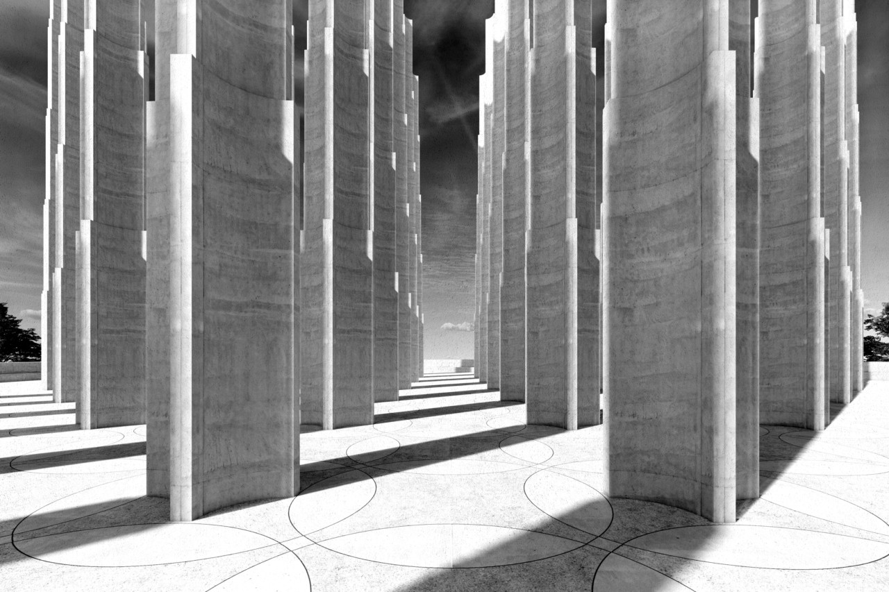 Rendering of a concrete plaza with scalloped towers