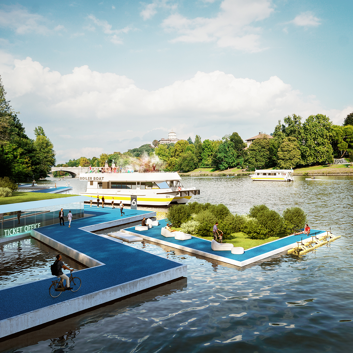 Rendering of a walkway floating in a turin river