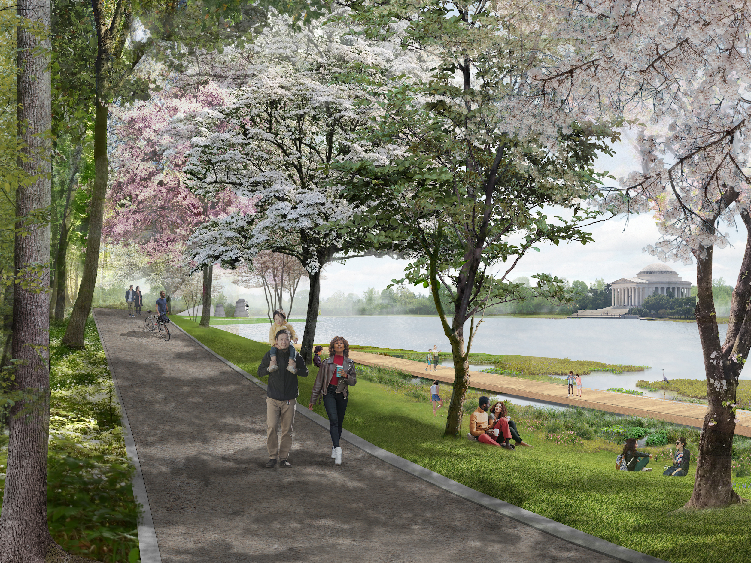 illustration of people walking beneath cherry trees along a body of water