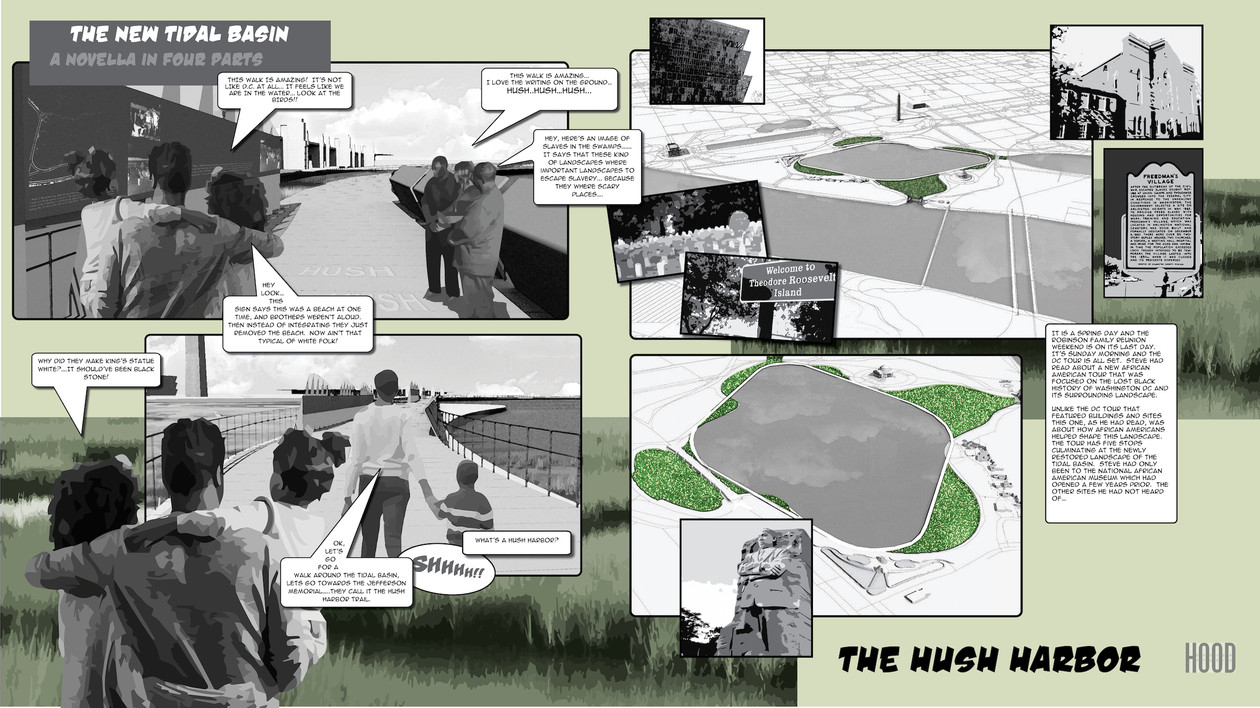 a page from a graphic novella about the future of the national mall tidal basin