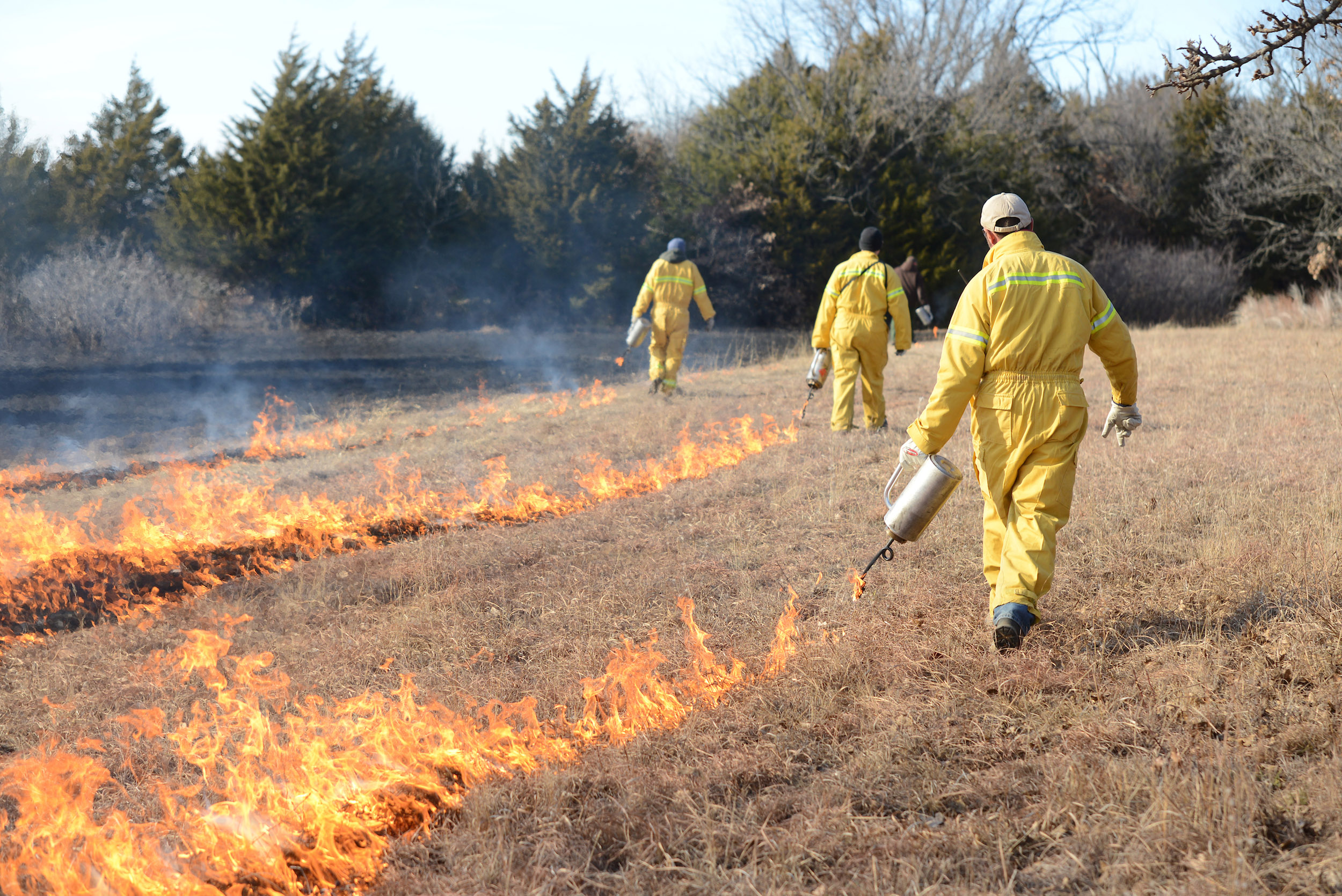 Crews lighting scrubland on fire for controlled burns