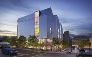 Exterior night rendering of the El Paso Children's Museum, with lights embedded across the facade
