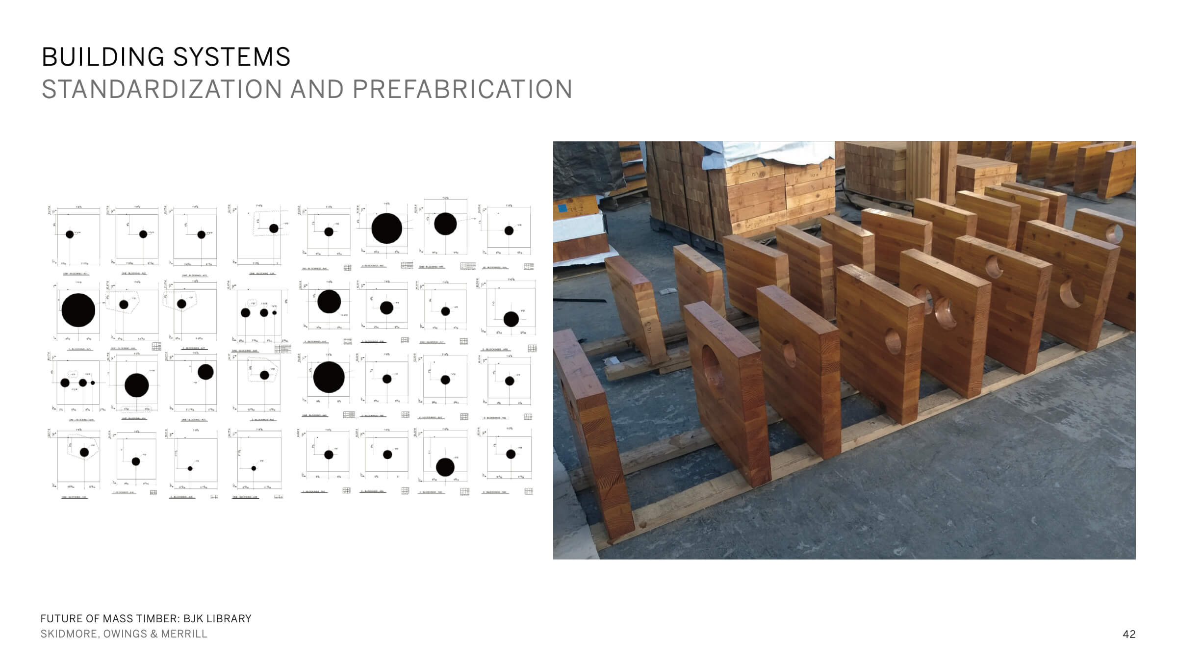 Image of structural components with holes for MEP routing