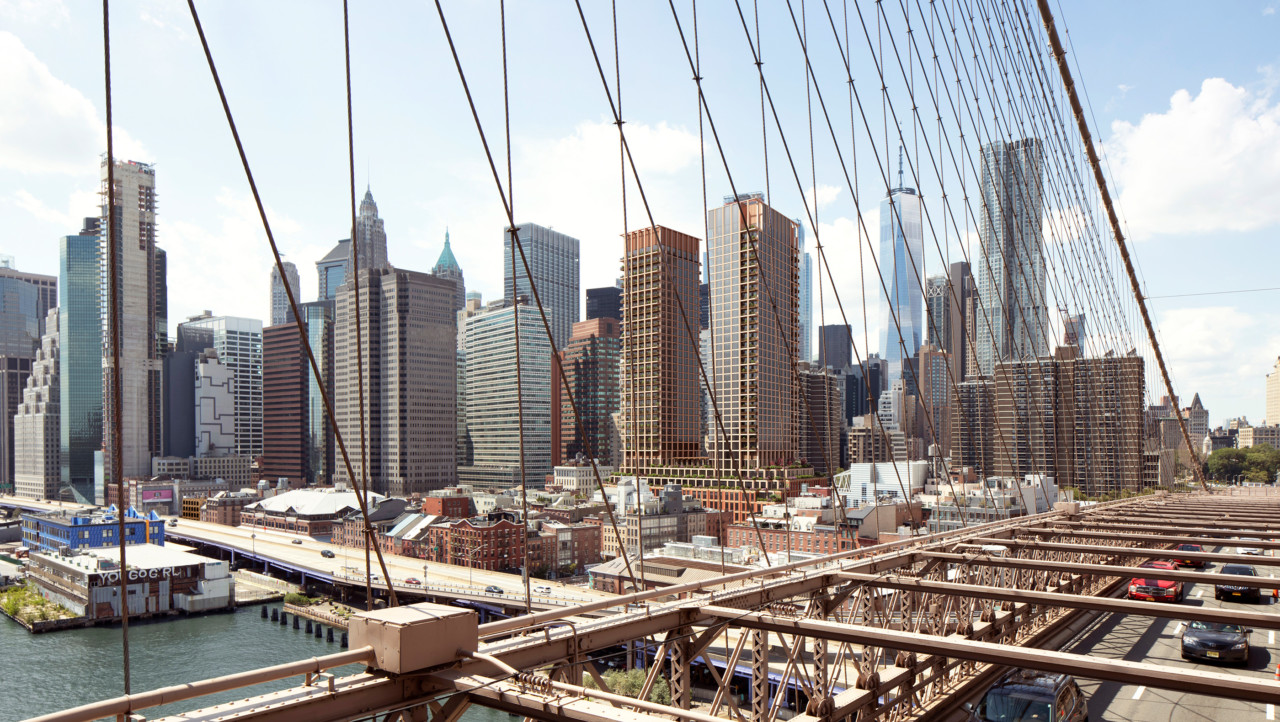 Looking from a bridge to the manhattan skyline at the south street seaport
