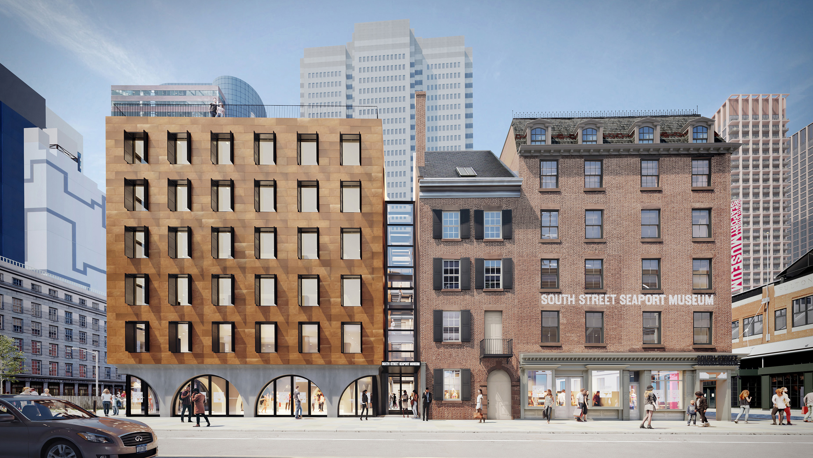 Rendering of a squat historic building in the south street seaport next to a more contemporary museum