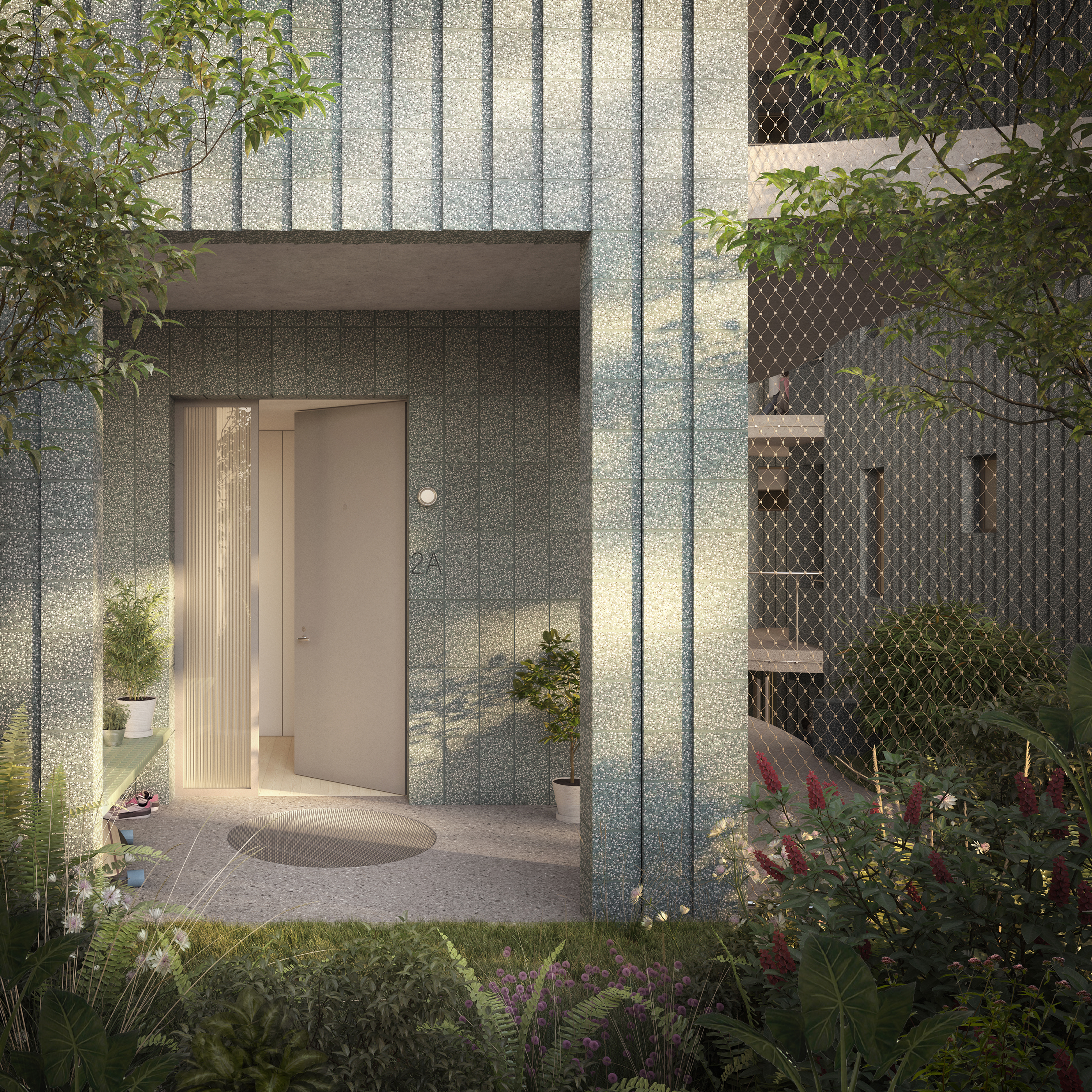 rendering of an entrance to a new concrete apartment building