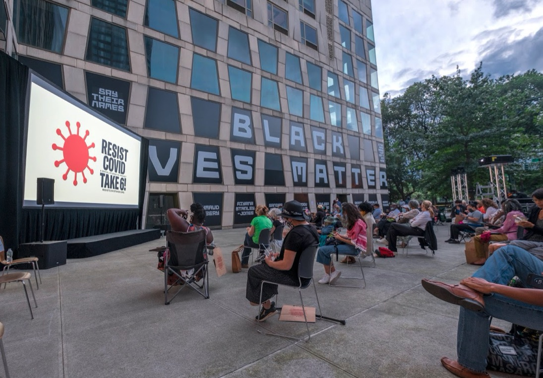 outdoor BLM screening in front of a museum