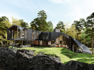 A black home with metal roof that curves downward
