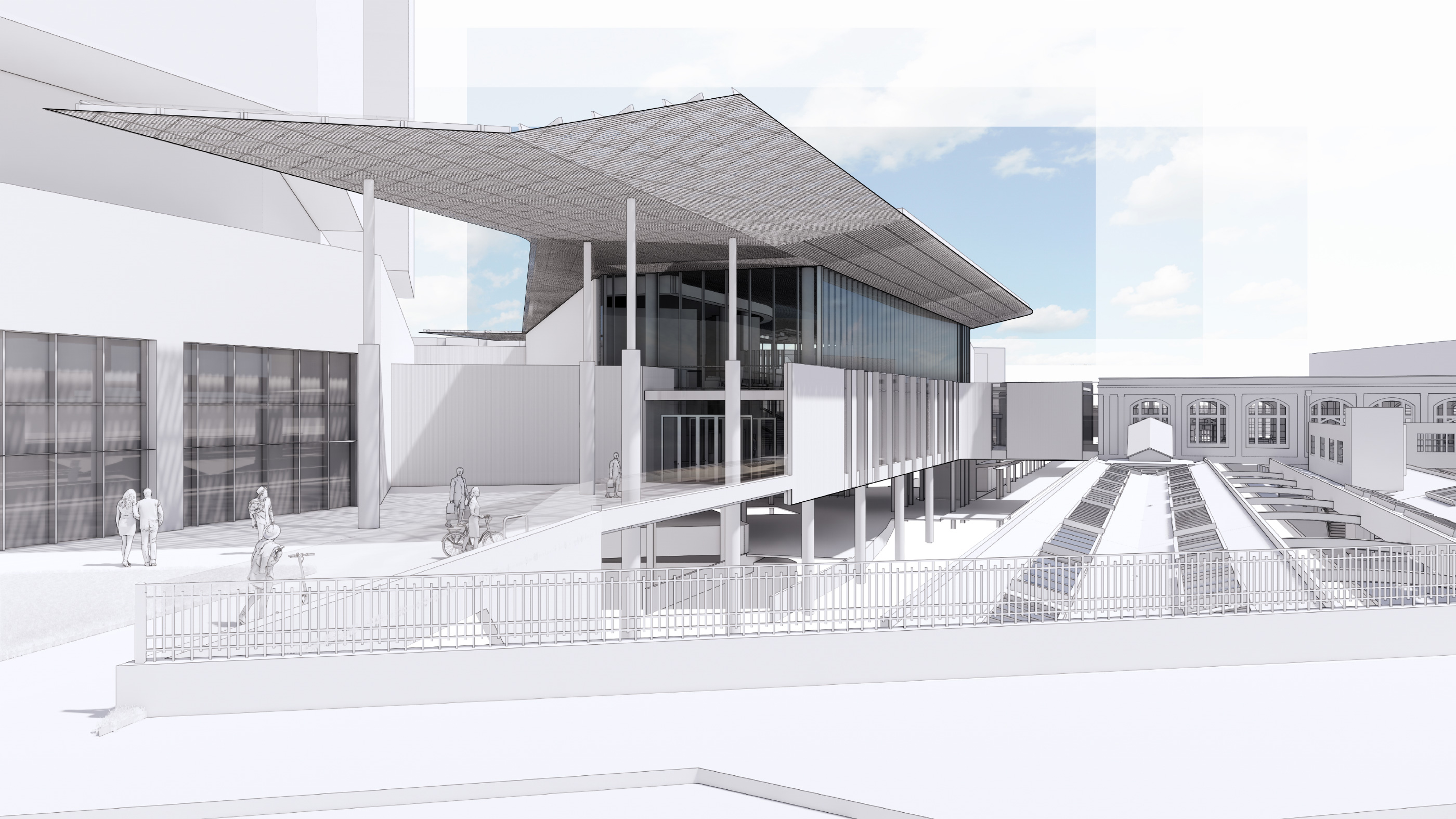 A simple white rendering of a new train station with large overhang