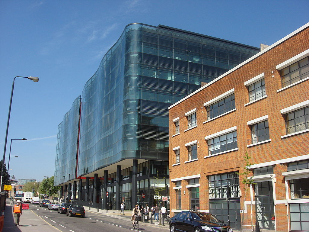 a glassy modern office building and arts center in london