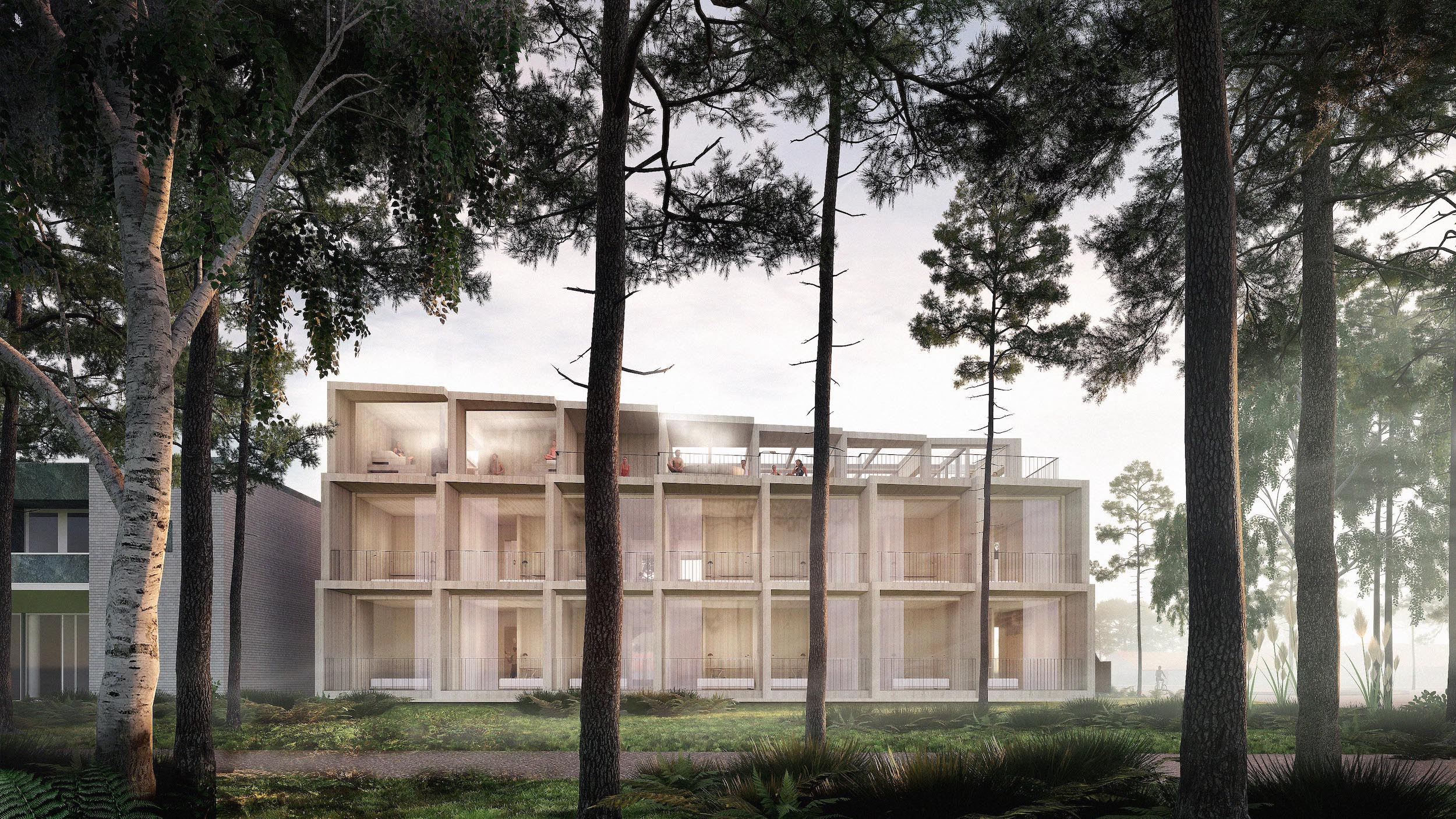 illustration of an all-wood hotel nestled behind trees
