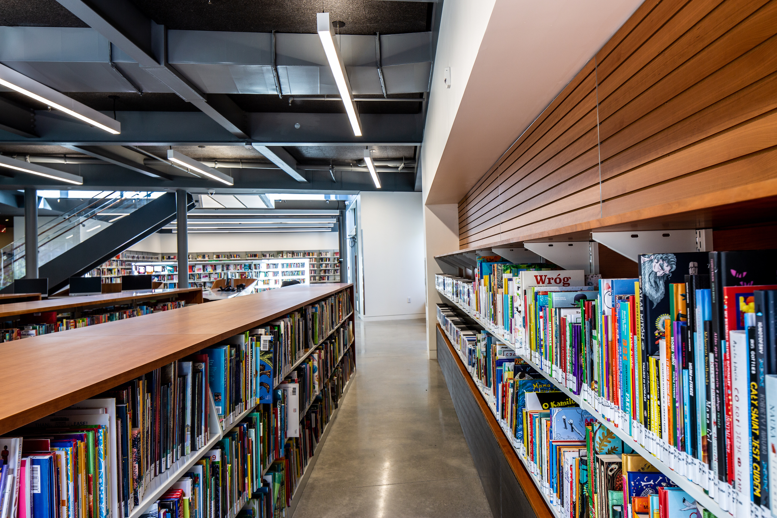 books on shelves in a children's library
