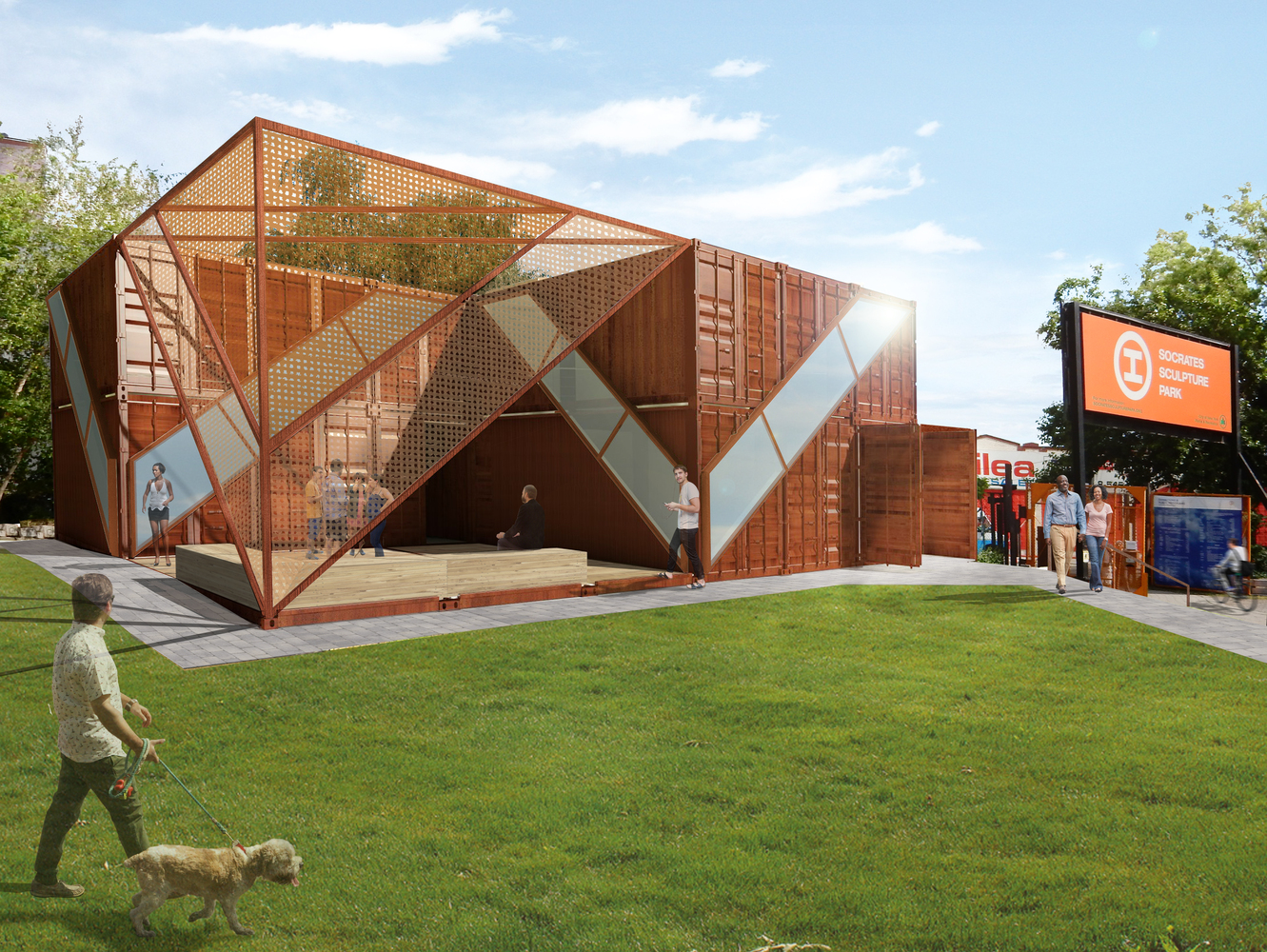 rendering of shipping container building built using prefabrication from steel in a city park