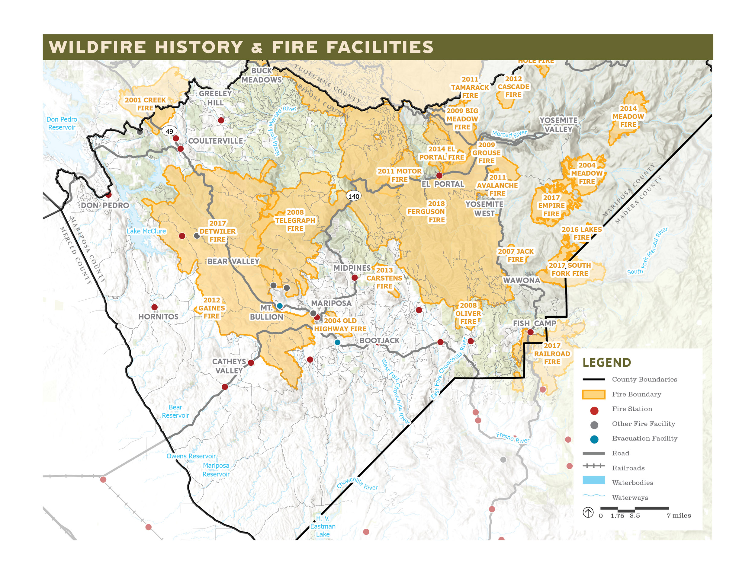 map of mariposa county depicting the county's history of wildfires