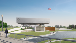 Rendering of a floating cube mass clad in stainless steel, the new National Medal of Honor Museum