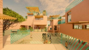 illustration of a housing community in africa built from plastic