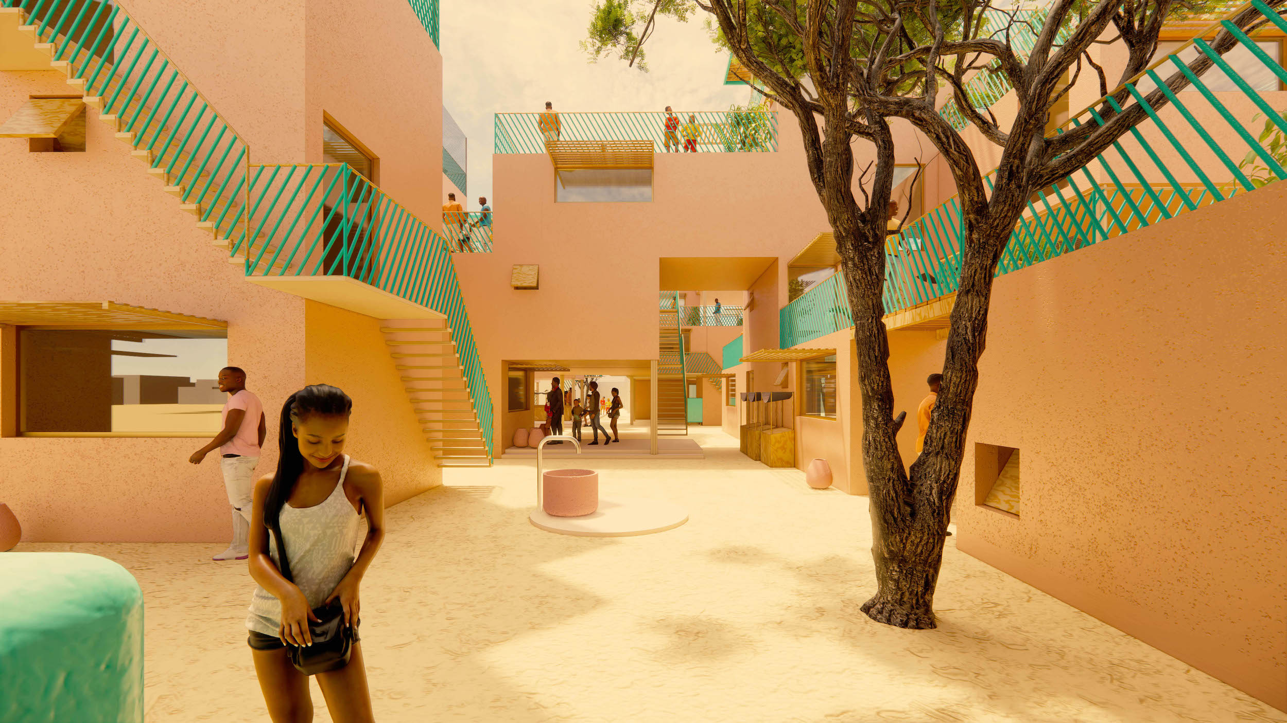 illustration of an african housing complex built from recycled plastic