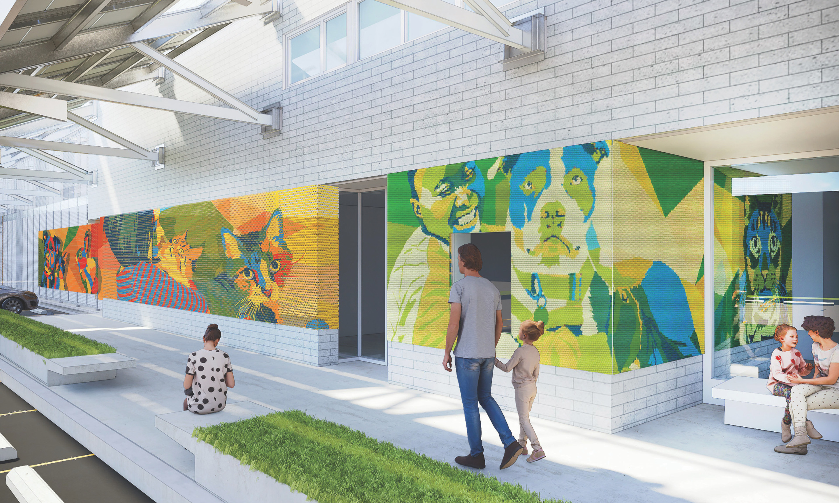 a colorful mural of pets, one of the 2020 Awards for Excellence in Design winners