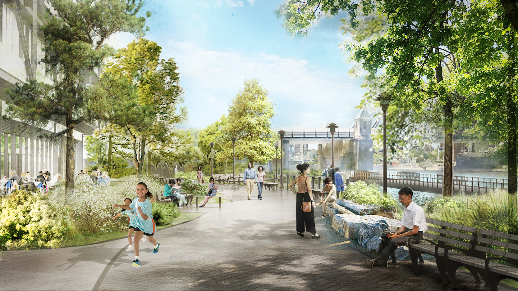 illustration of people enjoying an urban green space, one of the 2020 Awards for Excellence in Design winners