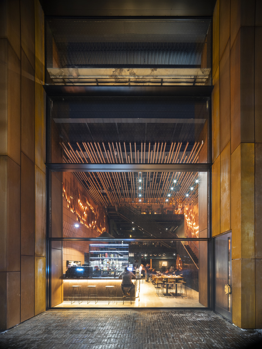 looking into a chic restaurant, Gusto 501