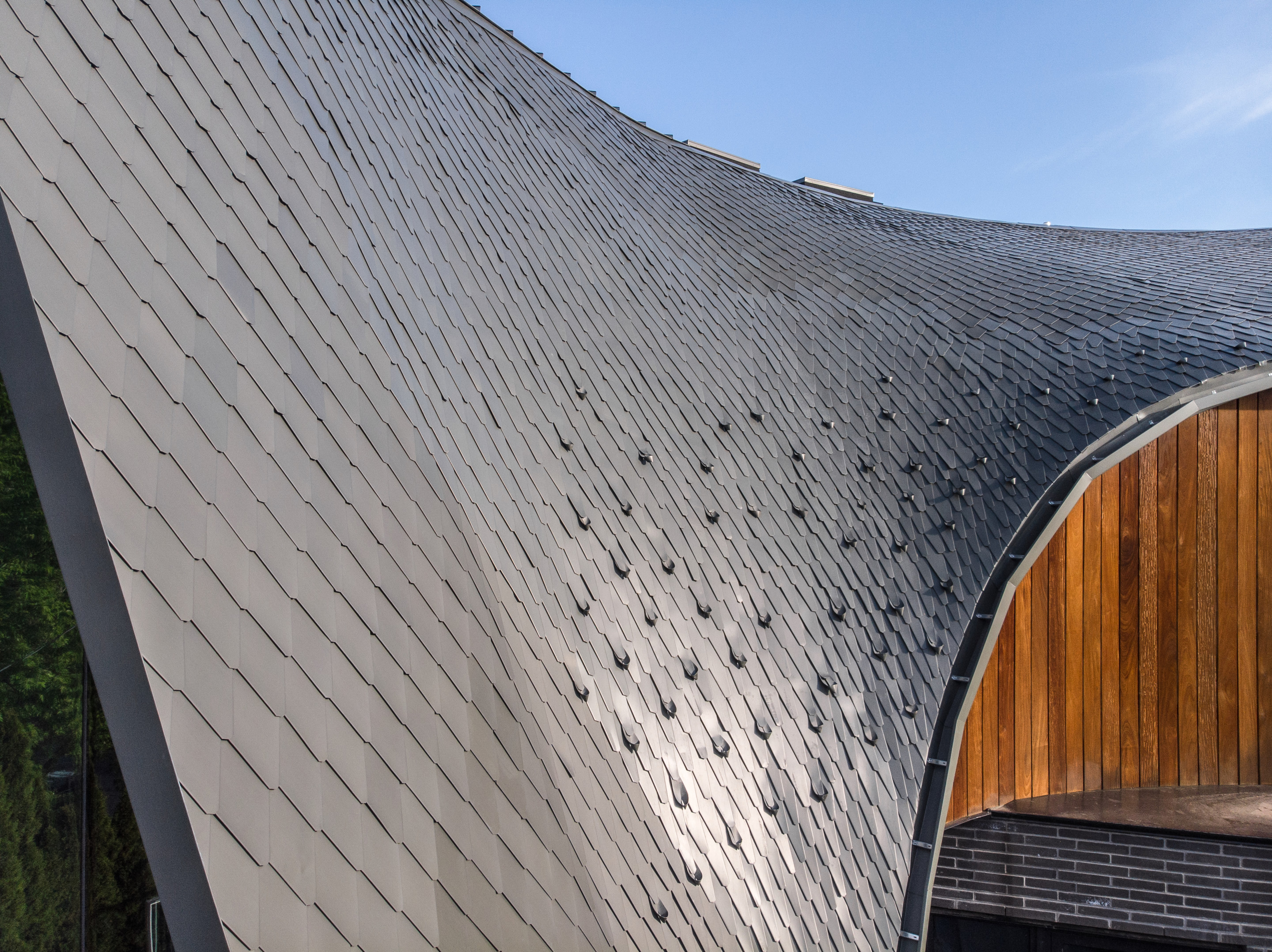 a zinc roof curved with dramatic slope