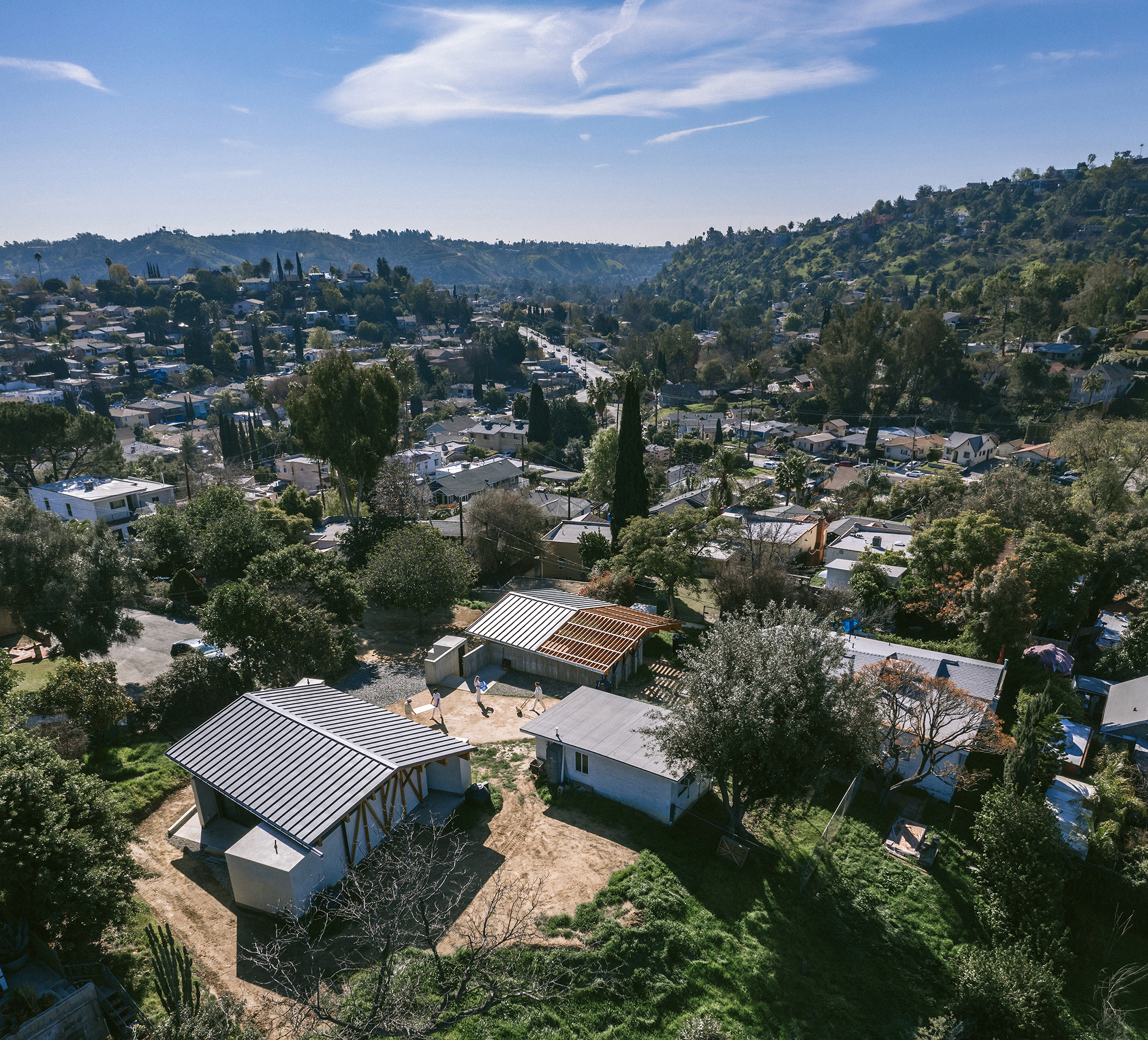 aerial view of a residential compound in LA