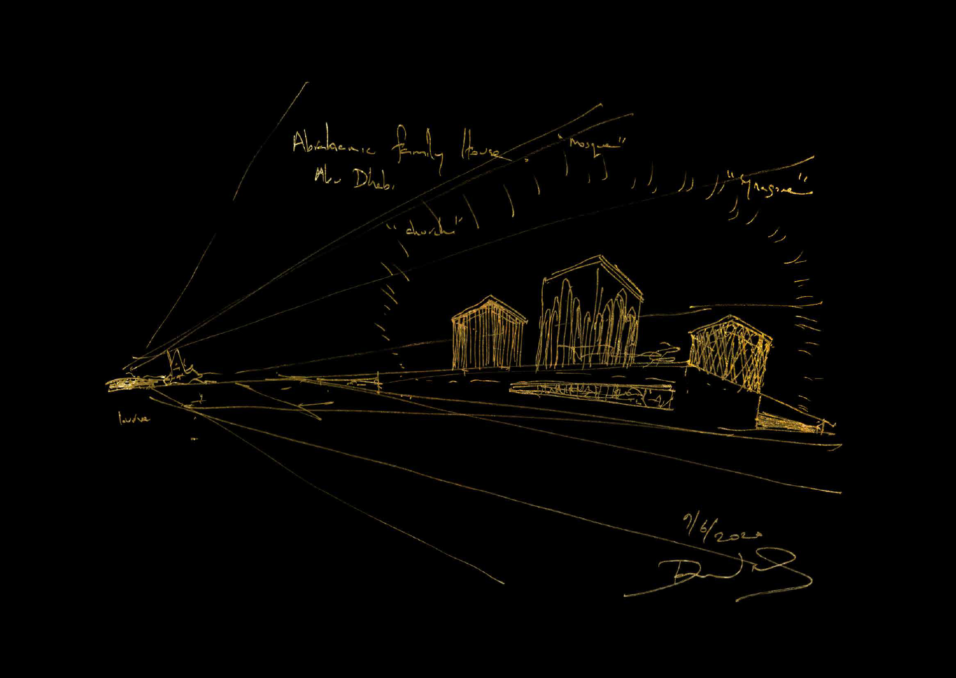 A gold-on-black lithograph of a house