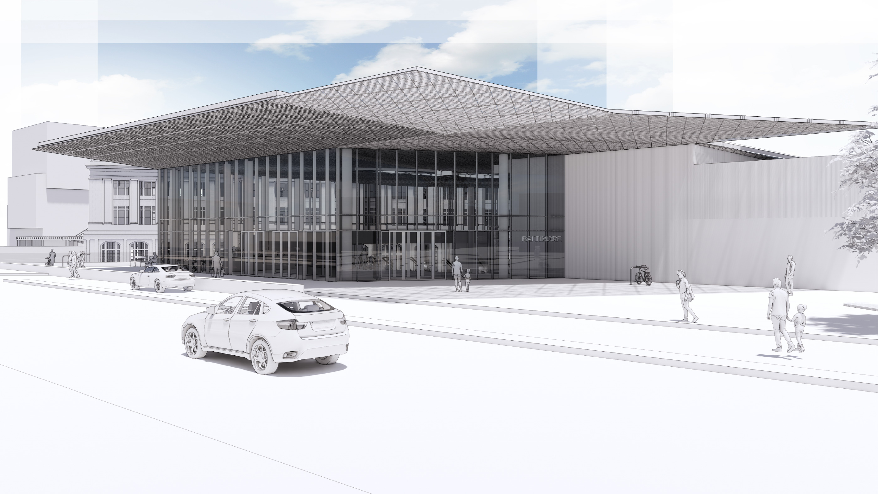 Rendering of the new baltimore amtrak station