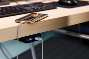 An integrated desk charger from Mockett