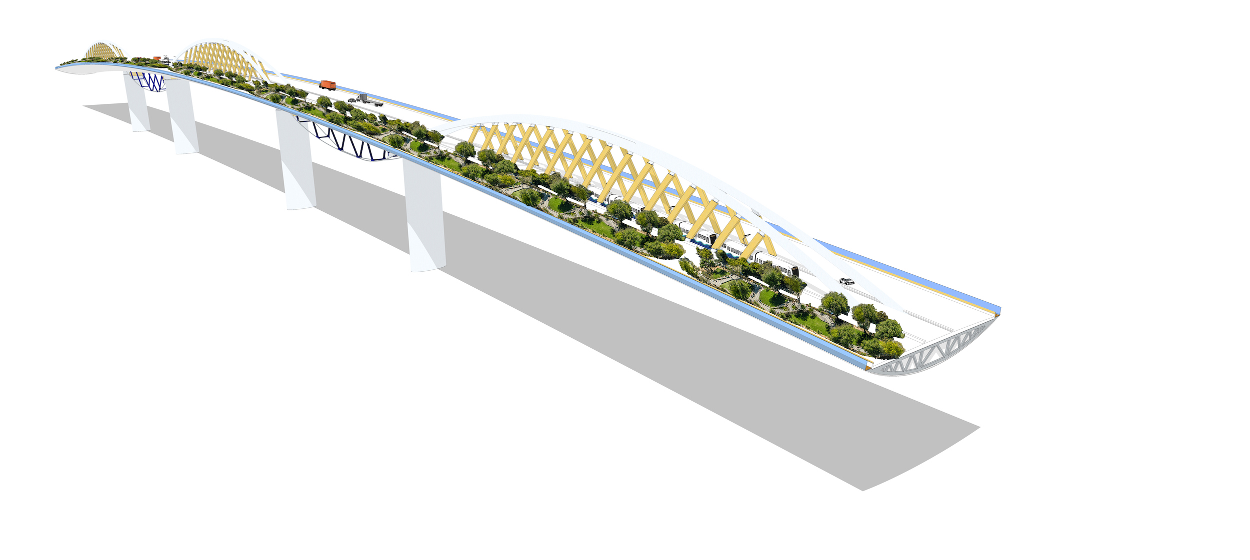 illustration of a proposed west seattle bridge replacement with a park element