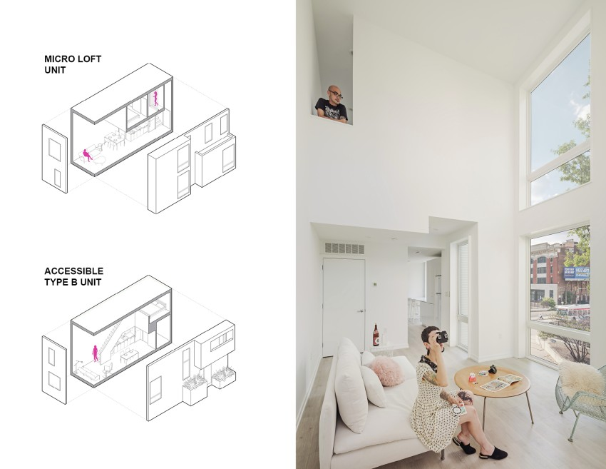 Interior image of bi-level unit with people on the floor and above