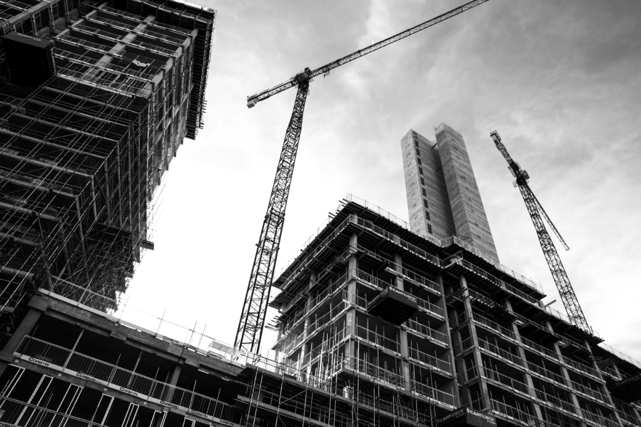 The architecture billings index, like this black and white construction site, continued to rise