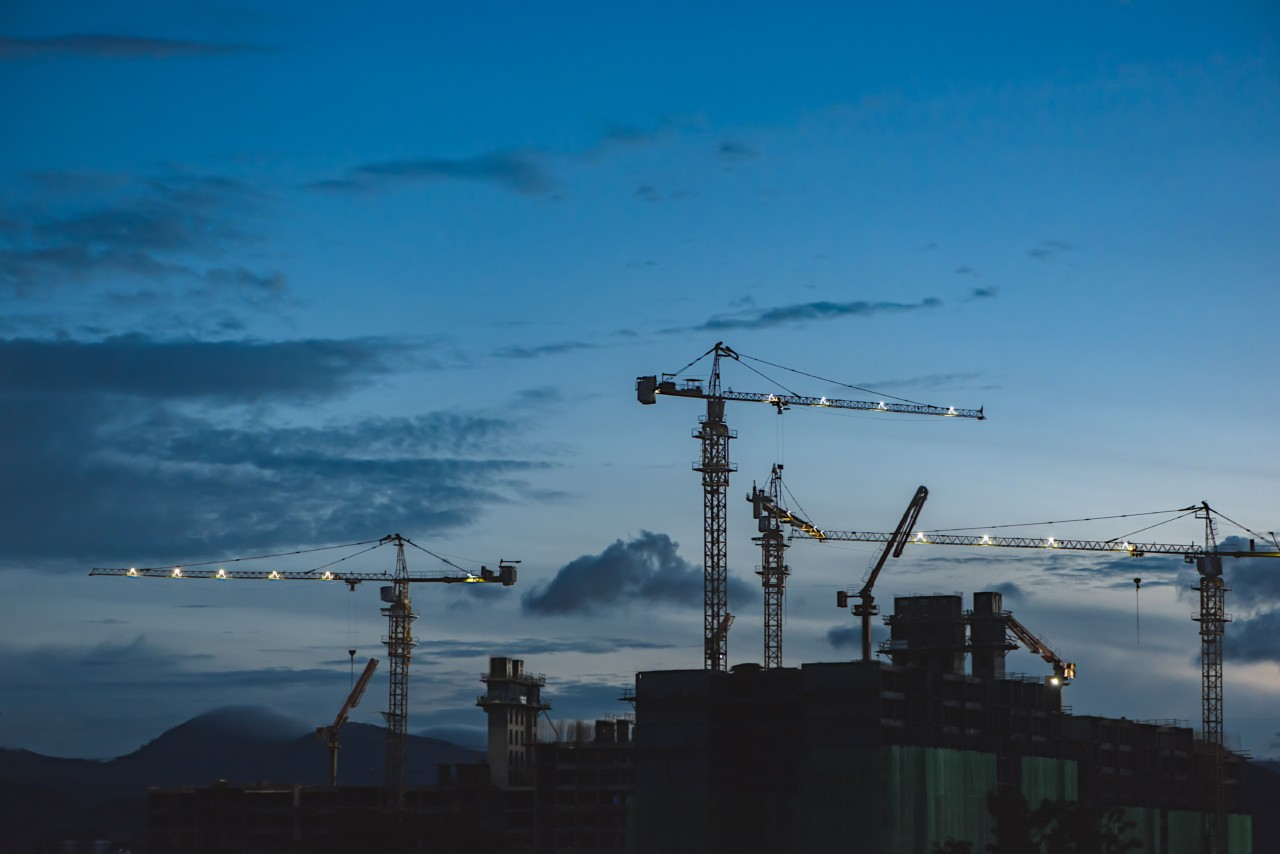 The construction industry is being battered; seen here are empty cranes