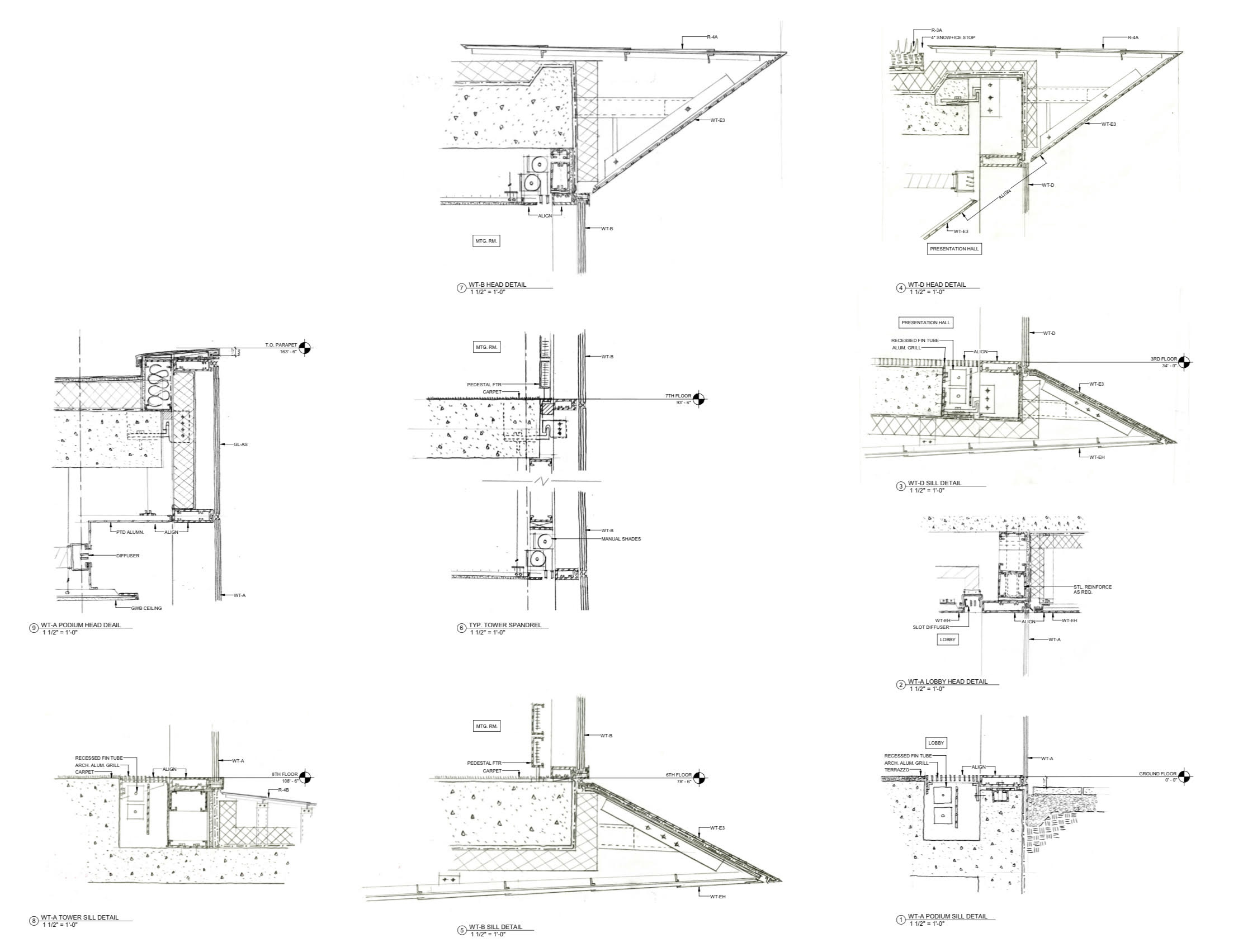 Diagram of the Rubenstein Forum facade system and the zinc panels.