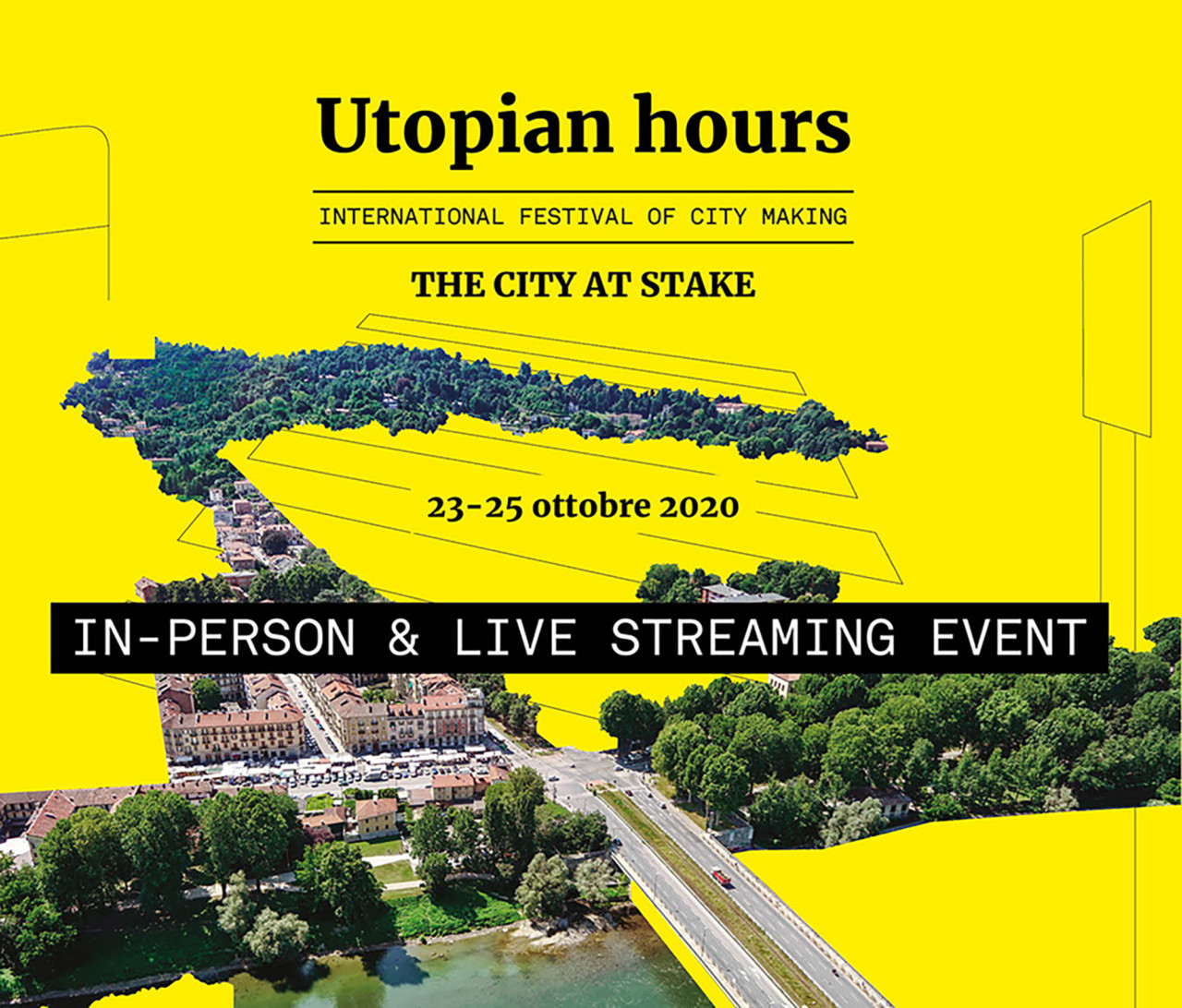 A poster that reads Utopian Hours on a yellow background