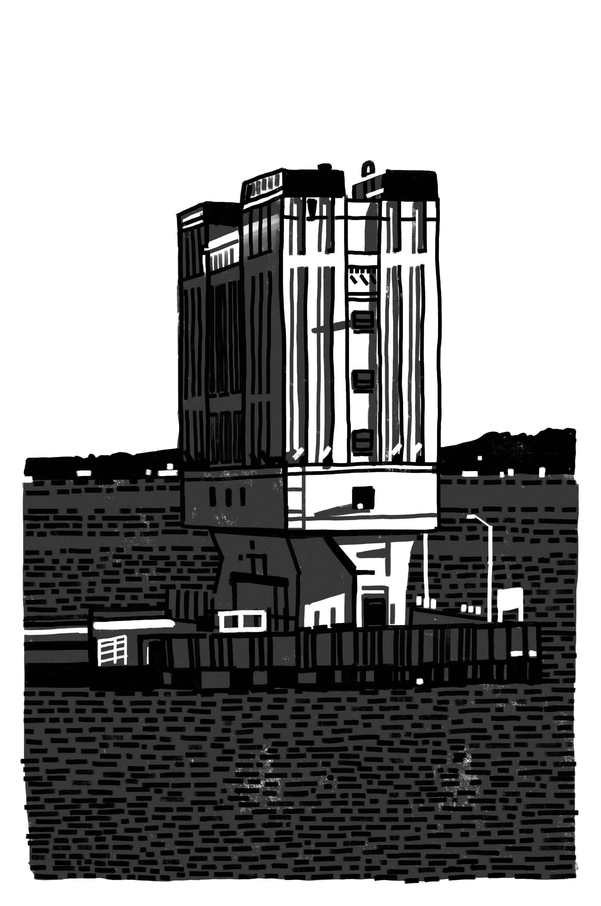 black and white diagram of a tall brutalist building over an exhaust