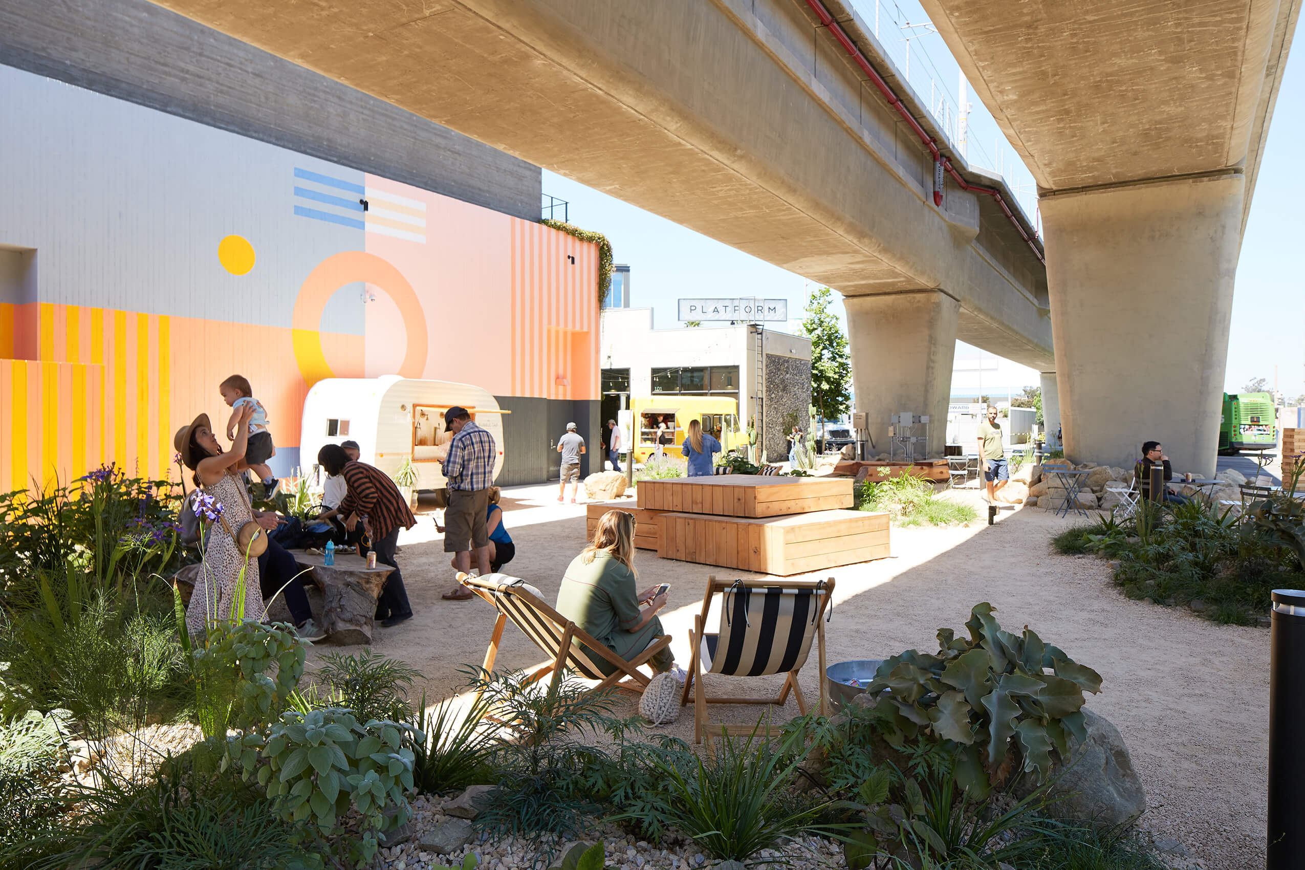People in an underpass park